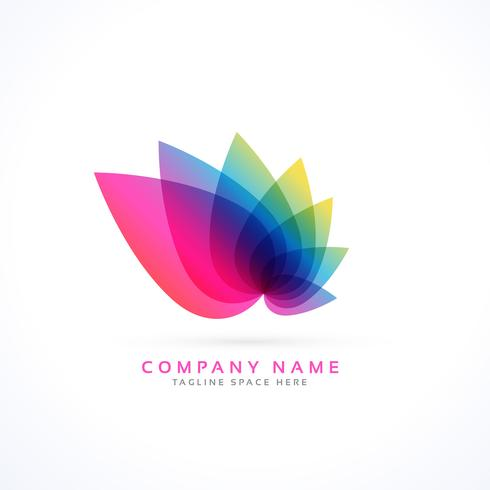 colorful petals flower logo concept