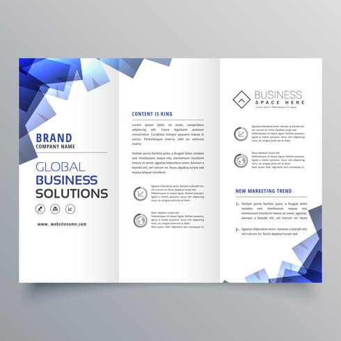 elegant trifold brochure with abstract blue shapes