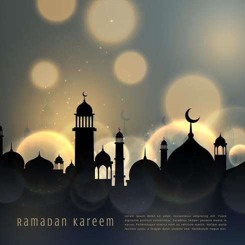 ramadan kareem islamic seasonal greeting with bokeh effect