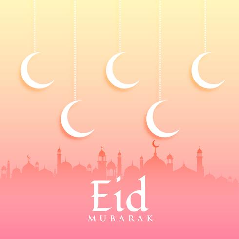 eid mubarak greeting card design with moon and mosque