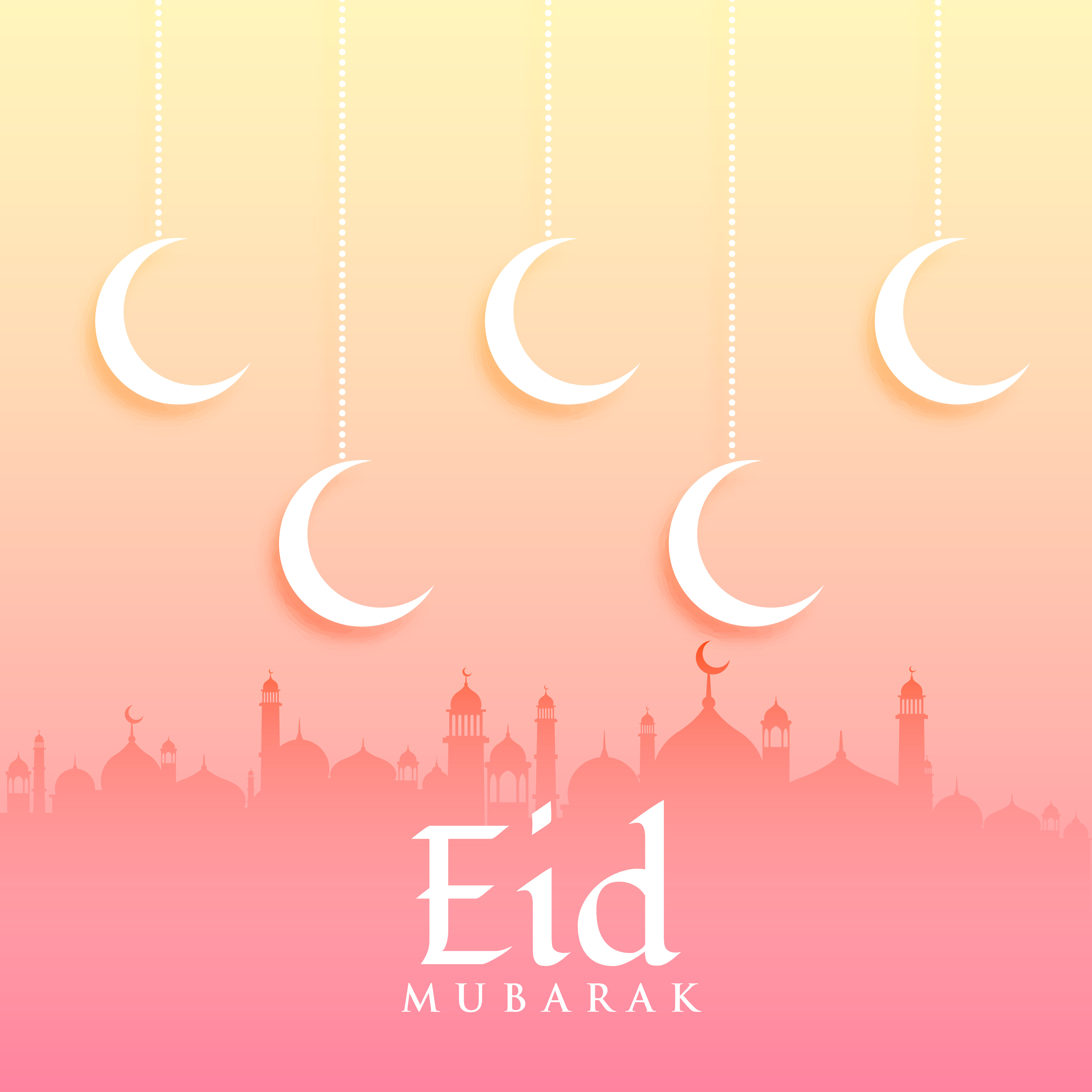 Eid Mubarak Greeting Card Design With Moon And Mosque Download