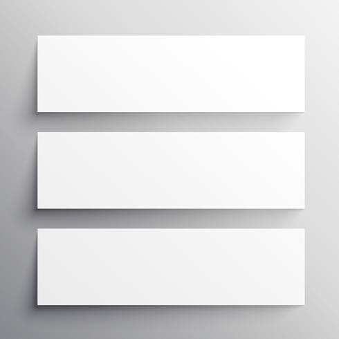 set of three black headers mockup design