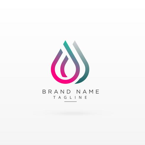 colorful droplet style line logo concept design