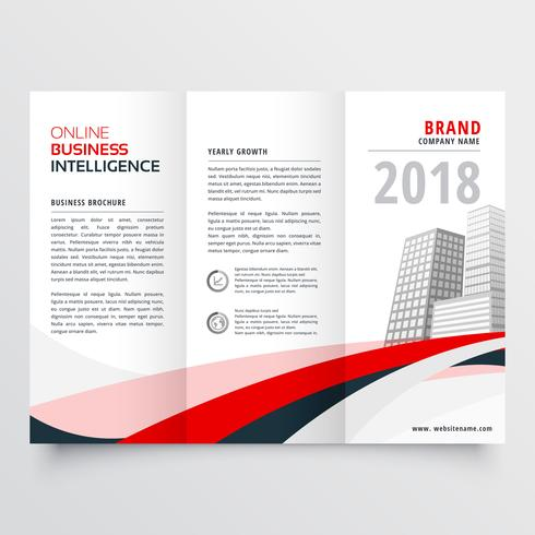 red black wave business trifold leaflet brochure flyer template