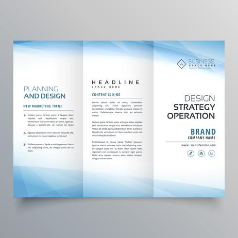 business blue trifold brochure design template