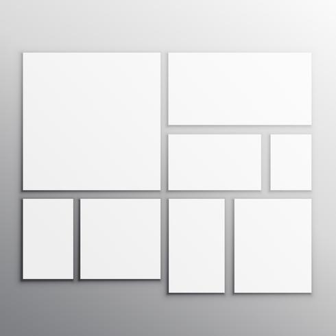 conjunto de tarjetas de maqueta blanca