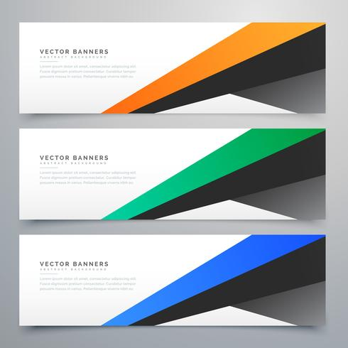 modern geometric banners set of three