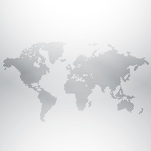 world map design in creative wavy pattern
