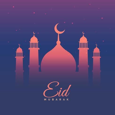 eid mubarak festival greeting in purple theme