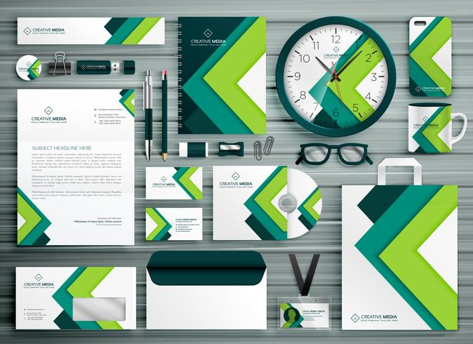 corporate business stationery template set mockup design with gr