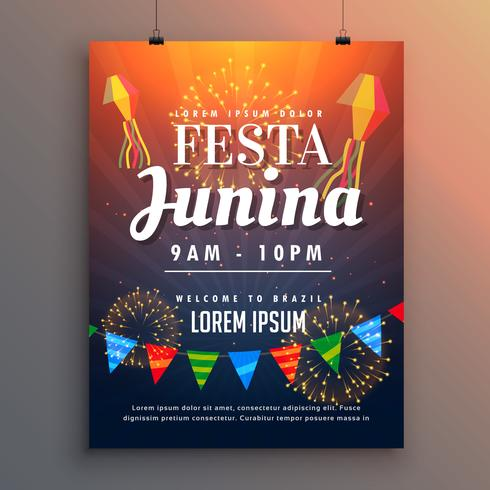 festa junina party invitation flyer design with fireworks