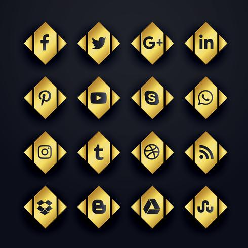 set di icone di social media premium d'oro