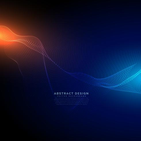 digital particles flow on blue technology background