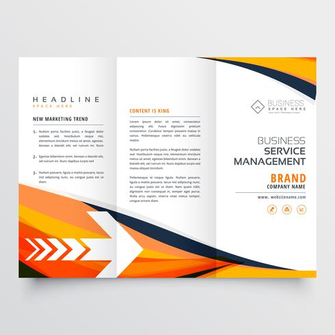 orange business tri fold leaflet brochure design flyer annual re