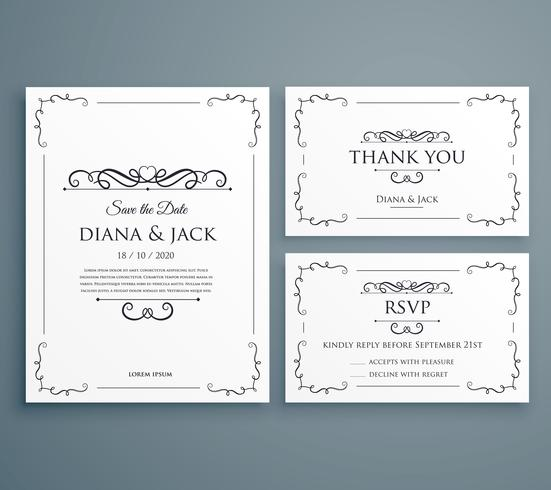 clean wedding invitation thankyou card save the date template