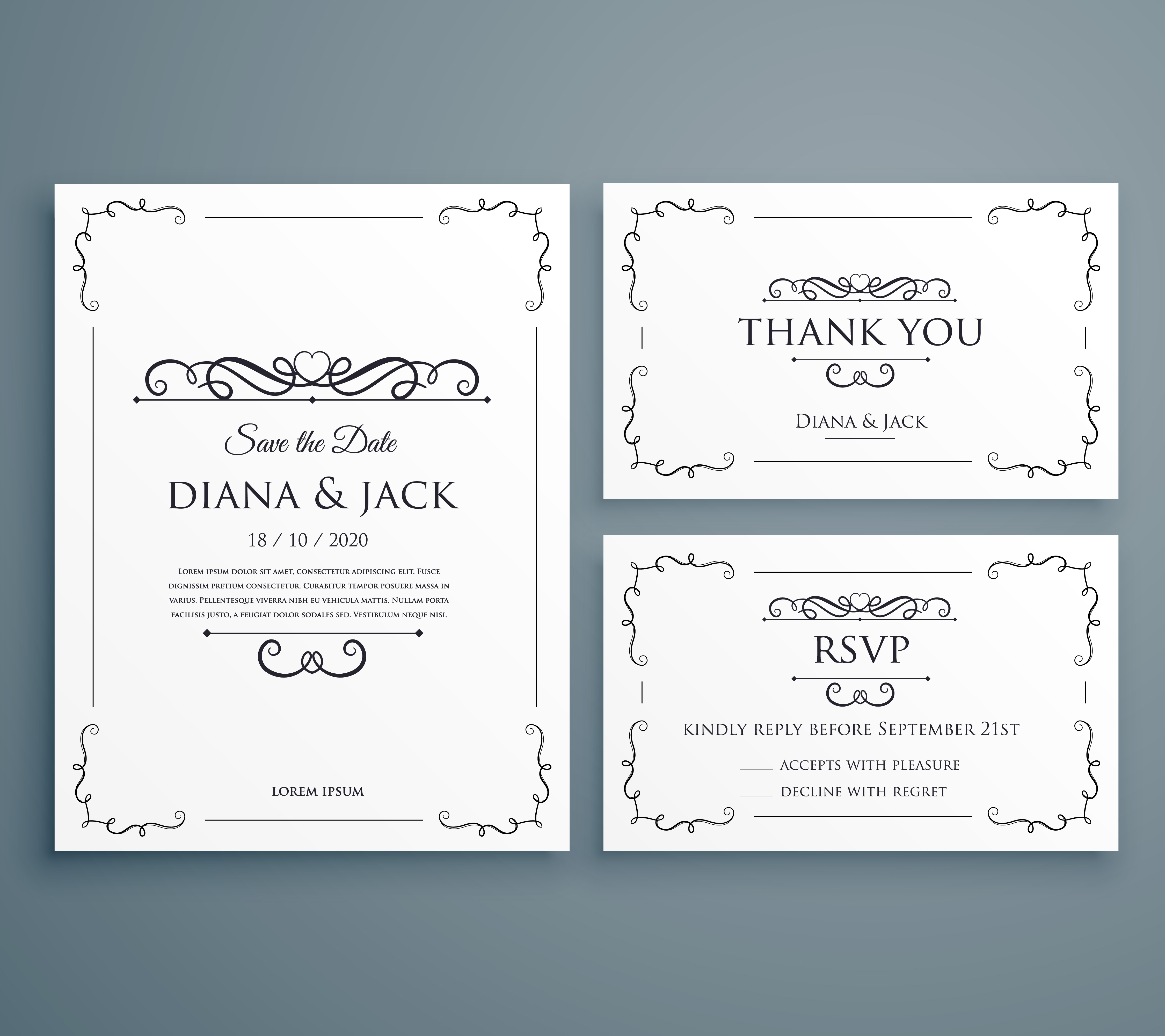 clean wedding invitation, thankyou card, save the date template ...