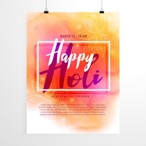 design de folheto festival holi criativo com fundo colorido