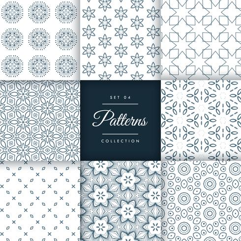 set of floral style patterns set in different shapes