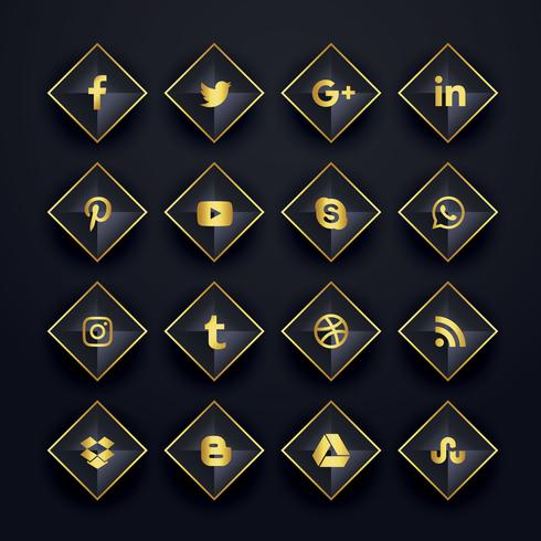 social media icons pack in diamond shape