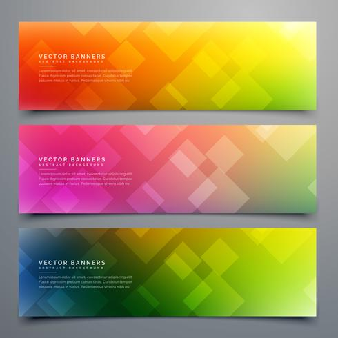 colorful abstract banners set of three