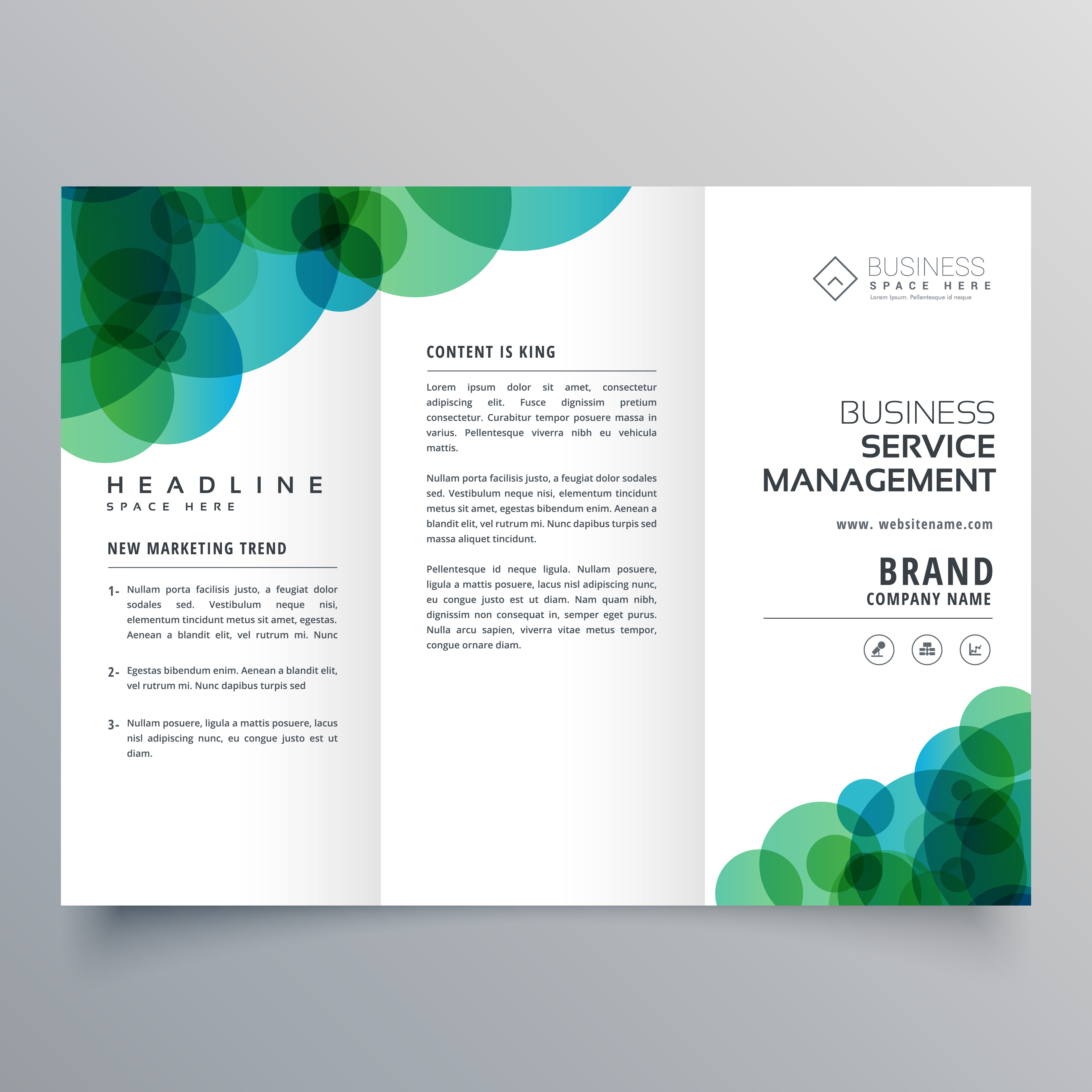 Black Business Card With Blue Circles: Modern Abstract Green And Blue Circles Business Trifold