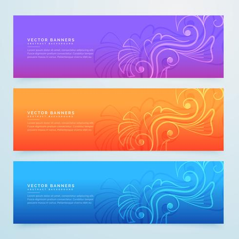 floral banners set of three in different colors