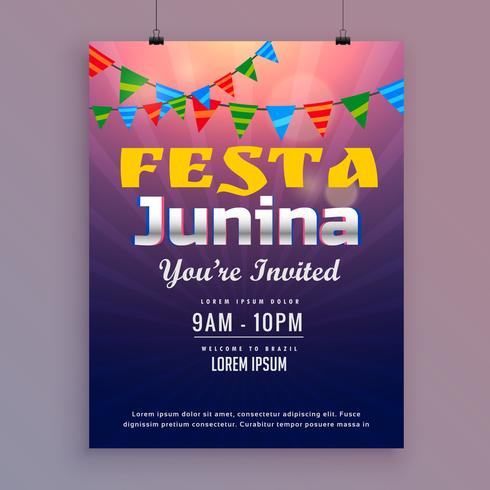 festa junina wenskaart ontwerp met uitnodiging