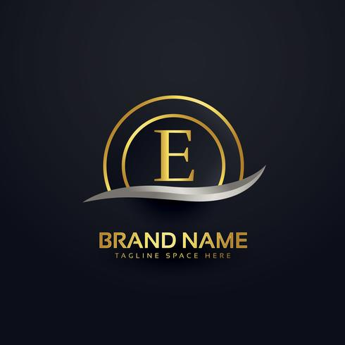 premium letter E logo design golden template