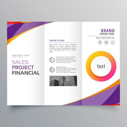 creative trifold brochure template with purple and orange wave s