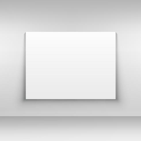 white canvas on wall mockup design template