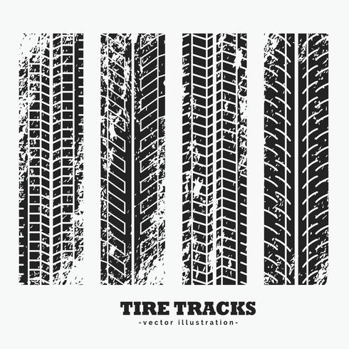 set of four grungy wheel tire tracks