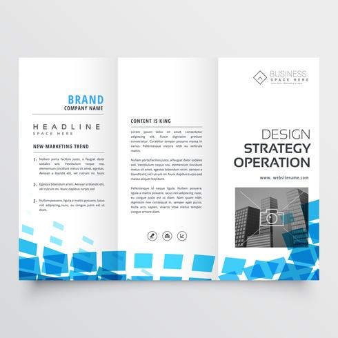 abstract tri-fold business brochure design with blue mosaic effe