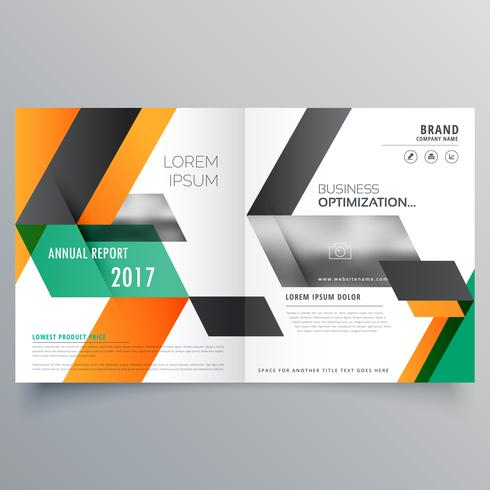 creative bifold brochure design template with geometric shape