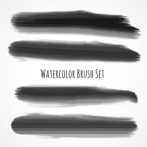 set of black watercolor brushes