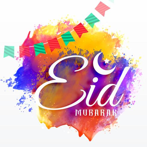 eid mubarak card with watercolor grunge effect