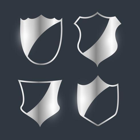 silver badges emblem design set