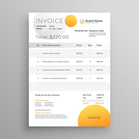 stylish yellow vector invoice template
