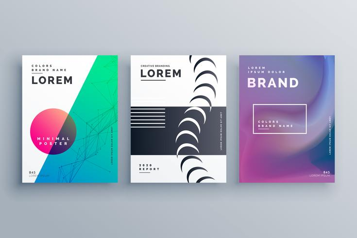 clean minimal branding of brochures in three different style for