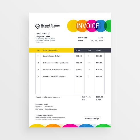 colorful vector invoice template design