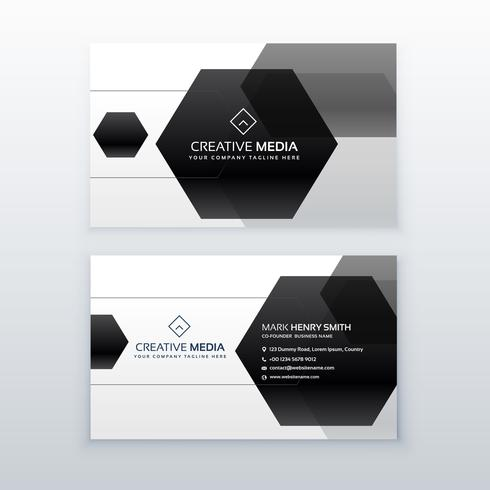 modern business card design made with black hexagonal shapes