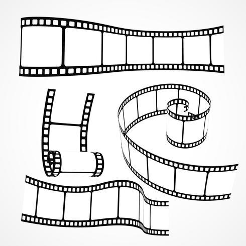 Conjunto de vetores de tira de filme 3D