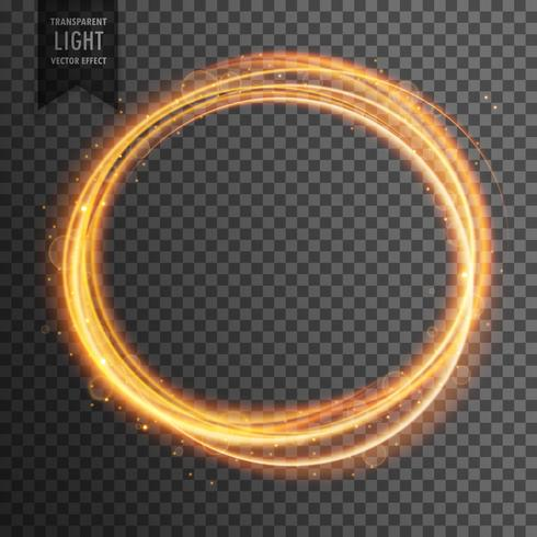 gold circle light effect on transparent background