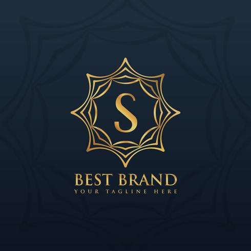 letter S logo style design with golden abstract frame