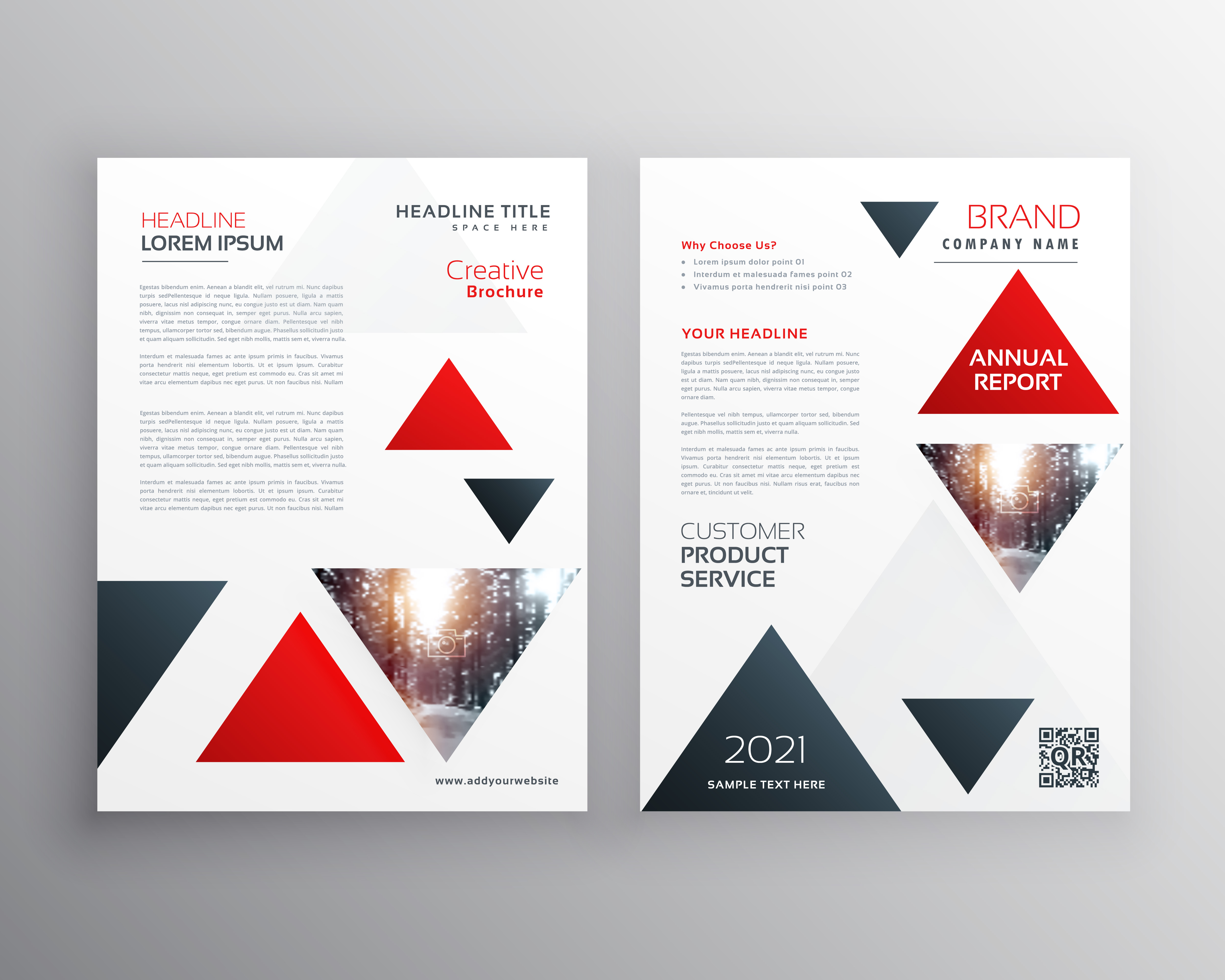 red triangle modern business brochure flyer poster design templa
