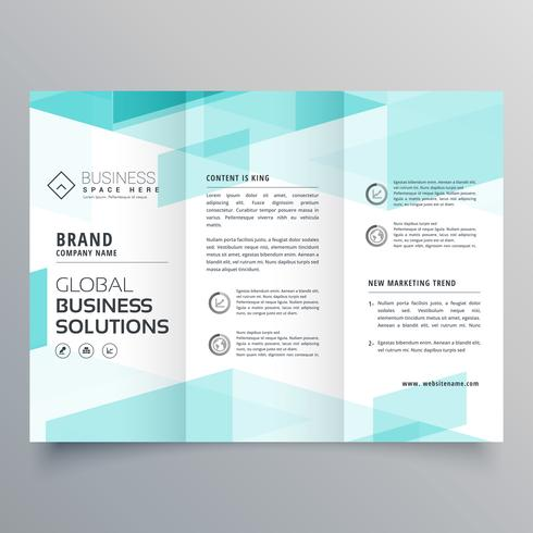 abstract blue tri fold brochure design template for your busines