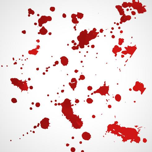 grunge red ink splatter texture set
