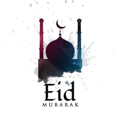 Silueta de la mezquita con salpicaduras de tinta para el festival eid