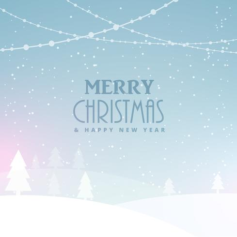 merry christmas celebration background with snow and trees