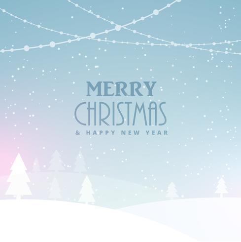 Fondo feliz celebración de Navidad con nieve y árboles