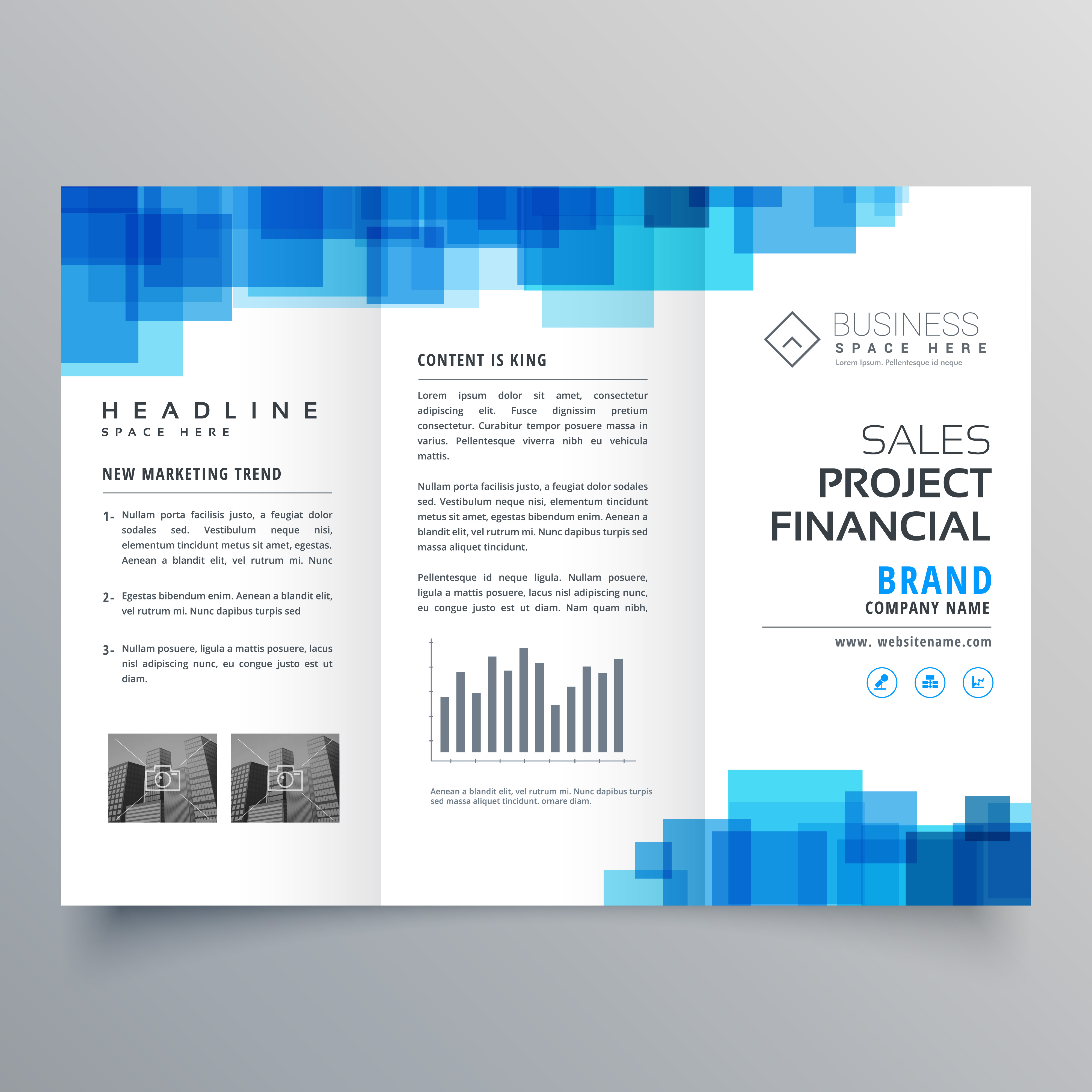 blue square shape trifold business brochure design
